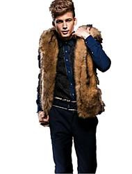 Masculino Colete Casual Simples Outono Inverno,Sólido Padrão Pêlo de Coelho Rex Com Capuz Sem Manga