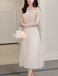 Women's Going out Casual/Daily Sexy Cute A Line Loose Sheath Dress,Solid Geometric V Neck Midi Long Sleeves Linen Acrylic PolyesterSpring