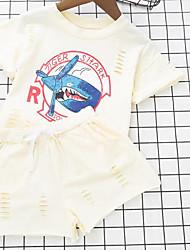 Girls' Print Sets,Cotton Polyester Summer Short Sleeve Clothing Set