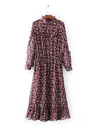 Mujer Corte Ancho Punto Vestido Noche Casual/Diario Simple Chic de Calle,Floral Estampado Escote Chino Maxi Midi Manga LargaAlgodón Lino