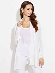 Damen Solide Einfach Lässig/Alltäglich T-shirt,Kapuze Herbst Langarm Polyester Dünn