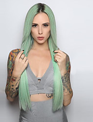 Fashion Ombre Mint Green Long Straight Synthetic Wigs Glueless Black/Mint Green Heat Resistant Hair Women Wig
