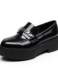Для женщин Мокасины и Свитер Удобная обувь Весна Осень Искусственное волокно Повседневные С металлическим носком На толстом каблуке Черный