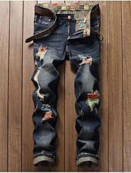 Masculino Simples Cintura Média Inelástico Jeans Calças,Reto Delgado Estampado
