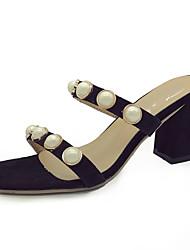 Damen Slippers & Flip-Flops Komfort Leuchtende Sohlen PU Sommer Normal Kleid Perle Block Ferse Schwarz Beige Gelb 5 - 7 cm