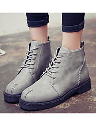 Women's Boots Comfort Fashion Boots Fall Winter Real Leather PU Casual Black Gray Brown Ruby Khaki Flat