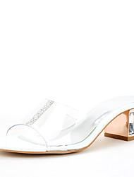 Для женщин Сандалии Обувь через палец ПВХ Лето Осень Свадьба Для праздника Для вечеринки / ужина Стразы КристаллыКаблук с хрустальной