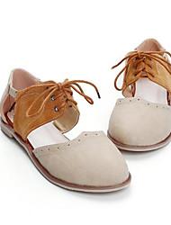 Damen Sandalen Komfort Echtes Leder PU Sommer Normal Beige Mandelfarben Flach