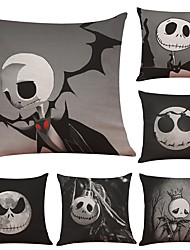Set of 6  Halloween Horror Skull  Linen Cushion Cover Home Office Sofa Square Pillow Case Decorative Cushion Covers Pillowcases (18*18Inch)
