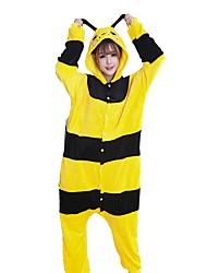 Kigurumi Pajamas Bee Festival/Holiday Animal Sleepwear Halloween Fashion Stripe Embroidered Flannel Fabric Cosplay Costumes Kigurumi For