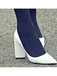Feminino Saltos Conforto Plataforma Básica Pele Real Primavera Verão Casual Branco Preto 10 a 12 cm