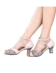 Damen Latin Glitzer Paillette Satin Sandalen Absätze Sneakers Innen Rüschen Gerafft Glitter Kubanischer Absatz Gold Silber Blau Rosa5 -