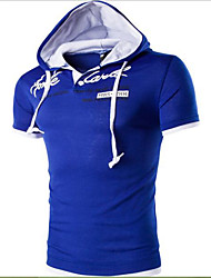 Men's Casual/Daily Simple Spring Summer T-shirt,Print Letter Hooded Short Sleeves Cotton