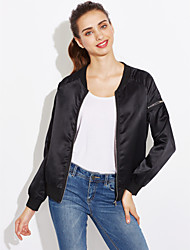 Women's Casual/Daily Sexy Spring Fall Leather Jacket,Solid Peaked Lapel Long Sleeve Short Cotton