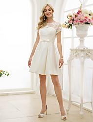 Corte en A Escote de ilusión Hasta la Rodilla Encaje Satén Vestido de novia con Lazo(s) Fajas / Cintas por LAN TING BRIDE®