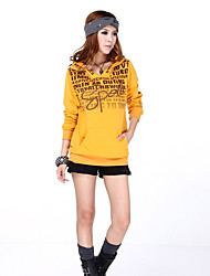 Women's Going out Hoodie Solid Print Hooded Stretchy Polyester Long Sleeve Spring Fall