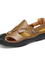 Herren Sandalen Komfort Sommer Echtes Leder Leder Wasser-Schuhe Normal Schnalle Flacher Absatz Schwarz Braun Khaki Flach
