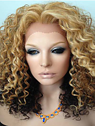Golden Brown Ombre Kinky Curly Brazilian Human Hair Glueless Lace Front Wigs Middle Part Elegant Style