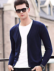 Men's Plus Size Casual/Daily Simple Short Cardigan,Solid V Neck Long Sleeves Wool Cotton Others Spring Fall Thin Stretchy