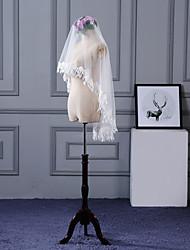 Wedding Veil One-tier Blusher Veils Elbow Veils Fingertip Veils Lace Applique Edge Lace Tulle