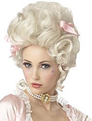 Perruque Synthétique Sans bonnet Mi Longue Frisés Blanc Perruque de Cosplay Perruque Déguisement