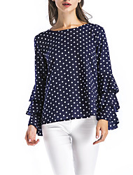 Women's Casual/Daily Sexy Fall Blouse,Polka Dot Round Neck Long Sleeves Polyester Medium