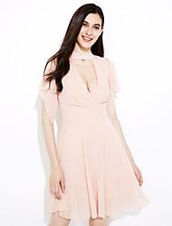 Aliexpress 2016 primavera e verão moda sexy v-neck halter cintura strapless vestido chiffon dobras