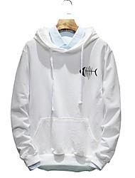Men's Plus Size Casual Slim Fish Bone Printed Hooded Sweatshirt Cotton Polyester
