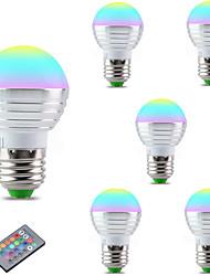 3W Bombillas LED Inteligentes A60(A19) 1 LED Integrado 300 lm RGB Regulable Control Remoto Decorativa V 6 piezas E27