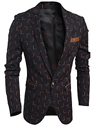 Men's Party/Cocktail Going out Casual/Daily Work Street chic Spring Blazer,Solid Peaked Lapel Long Sleeve Regular Cotton Polyester