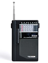 R-808 Rádio portátil Radio FM Alto Falante Embutido Cinzento