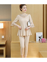 Women's Casual/Daily Simple Spring Blouse Pant Suits,Solid Round Neck ¾ Sleeve