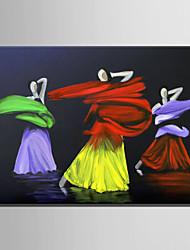 Ручная роспись Люди Горизонтальная,Абстракция 1 панель Холст Hang-роспись маслом For Украшение дома