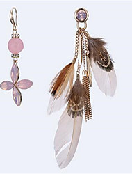 Women's Drop Earrings Oversized Fashion Mismatch Alloy Flower Feather Jewelry For Gift Stage Going out