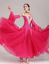 Бальные танцы Платья Жен. Концертная обувь Полиэстер Спандекс 4 предмета Без рукавов Платья Рукав Neckwear
