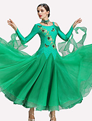 Ballroom Dance Dresses Women's Performance Spandex Polyester 2 Pieces Long Sleeve Dresses / Neckwear