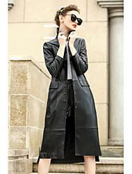 Для женщин На каждый день Осень Пальто Рубашечный воротник,Простой Однотонный Обычная Длинный рукав,Шерсть Хлопок