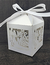 50pcs Mr Mrs Wedding Candy Box Sweets Gift Favor Boxes With Ribbon Engagement Party Decoration Supplies