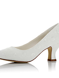 Women's Wedding Shoes Comfort Satin Fall Winter Wedding Party & Evening Comfort Chunky Heel Ivory 2in-2 3/4in