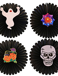 Halloween Decorative Supplies Pumpkin Skeleton Paper Flower Fan Hotel Shopping Mall Window Pendant Pendant Wagon Wall