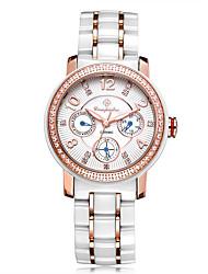 Жен. Нарядные часы Модные часы Китайский Кварцевый Крупный циферблат Позолоченное розовым золотом Керамика Группа Блестящие Белый
