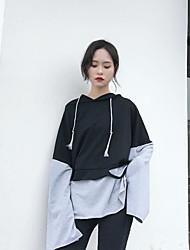 Sweat à capuche Femme Sports Couleur Pleine Micro-élastique Coton Manches longues Printemps