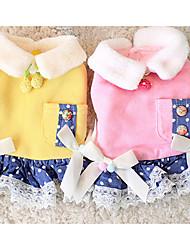 Chien Robe Vêtements pour Chien Décontracté / Quotidien Nœud papillon Jaune Rose