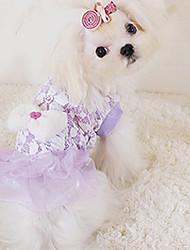 Cachorro Vestidos Roupas para Cães Casual Rendas Roxo Azul Rosa claro