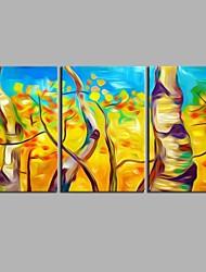 Pintados à mão Botânico Artistíco Abstracto Inspirado da Natureza Moderno/Contemporâneo Escritório/Negócio Legal Natal Ano Novo 3 Painéis