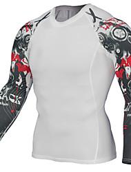 Homme Couche de Base Manches Longues Respirabilité Extensible Anti-transpiration Shirt Vêtements de Compression/Sous maillot Hauts/Top
