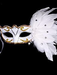 1PC Small Hat Hair Band For Halloween Costume Party The Flat Gold Silver Masquerade Mask Feather Painting Mask