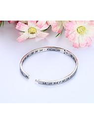 Femme Fille Bracelets Rigides Bracelet Strass Mode Adorable Simple Style Bling Bling MétalliqueAcier inoxydable Acier au titane Plaqué