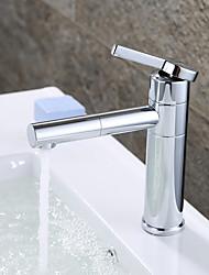 Современный Набор аксессуаров для ванной Наборы для ванной комнаты Настольная установка Хром , Ванная раковина кран