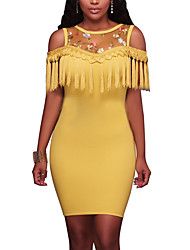 Women's Party Holiday Club Sexy Vintage Street chic Bodycon DressPatchwork Embroidered Tassel Mesh Off Shoulder Round Neck Above Knee Short Sleeves